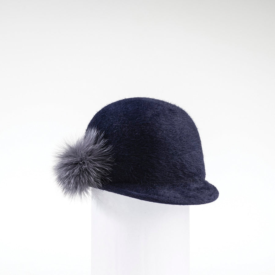 CHALLIE - FUR FELT CAP WITH SIDE POM