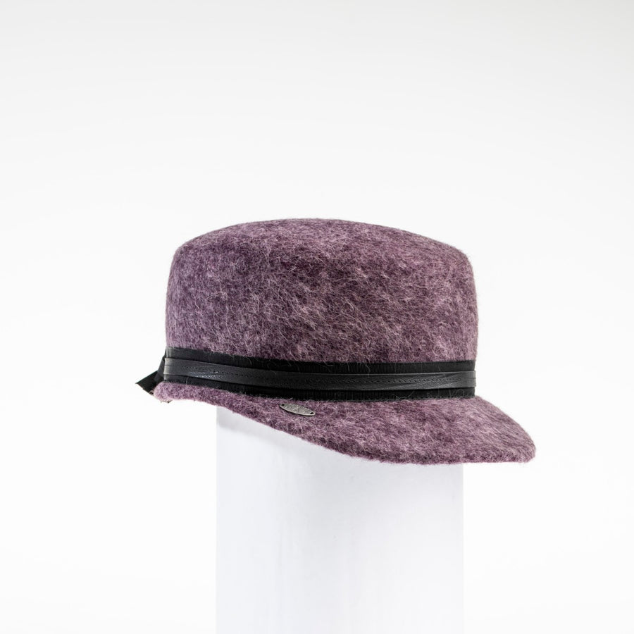 NADIA - FELT CAP WITH LEATHER BAND AND BOW AT BACK