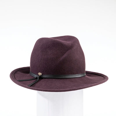 FARRAH - CROSSOVER FEDORA WITH LEATHER BAND GOLF  6700 PLUM 59