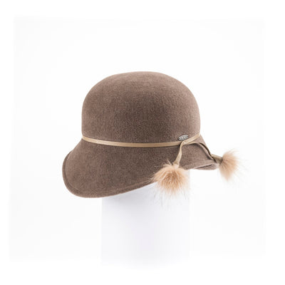 """CATHERINE - FUR FELT CLOCHE HAT, LEATHER, UPCYCLED FUR TRIM"" GOLF  4000 MAPLE NUT 58"