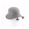 """CATHERINE - FUR FELT CLOCHE HAT, LEATHER, UPCYCLED FUR TRIM"" GOLF  7900 GREY 58"