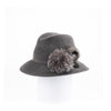"""FABS - FUR FELT SMALL FEDORA HAT, FUR TRIM AND SWAROVSKI"" GOLF  2600 CHARCOAL 58"