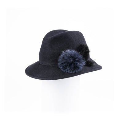"""FABS - FUR FELT SMALL FEDORA HAT, FUR TRIM AND SWAROVSKI"" GOLF  4500 NAVY 58"