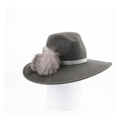 """FAERY - LARGE FUR FELT FEDORA HAT, FUR TRIM, SWAROVSKI"" GOLF  7900 GREY 58"