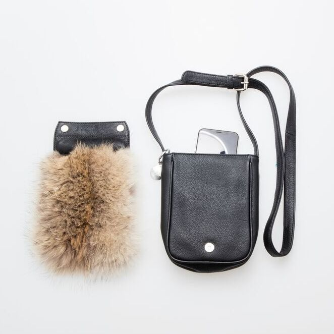 CROSSBODY BAG WITH DETACHABLE UPCYCLED FUR