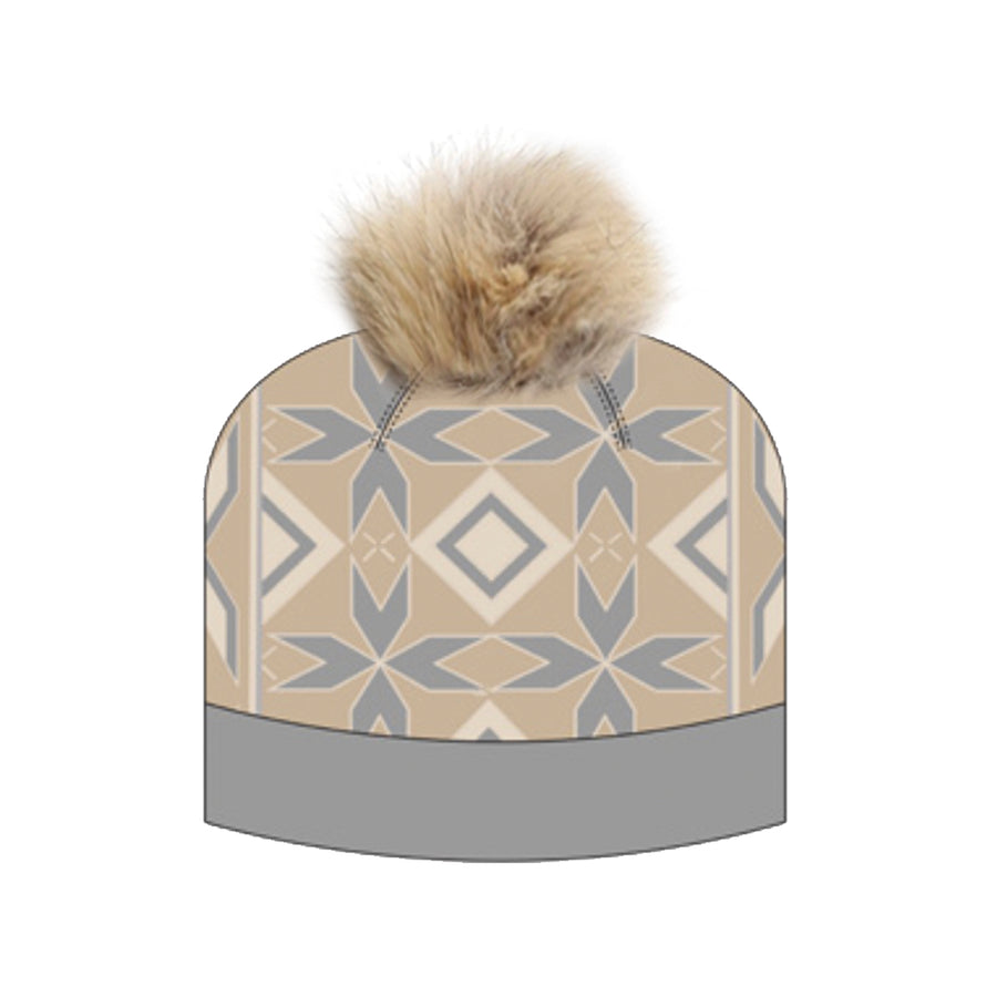 INU SKI BEANIE WITH REUSED FUR POM GOLF  0900 BEIGE O/S