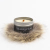 TRAVEL CANDLE WITH UPCYCLED FUR GOLF  6600 SILVER O/S