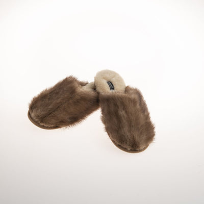 CLASSIC MINK SLIPPERS IN UPCYCLED FUR - LADIES GOLF  2400 LIGHT MINK 10