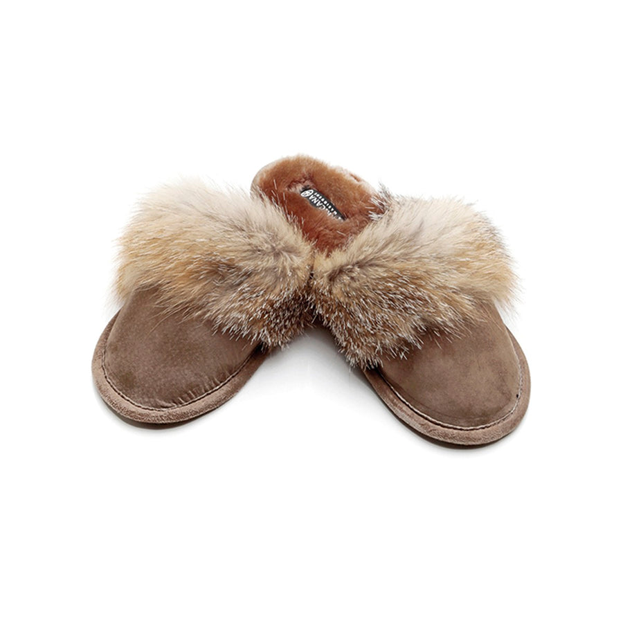 COYOTE TRIM SLIPPERS WITH SHEEPSKIN IN UPCYCLED FUR