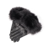 LEATHER GLOVES WITH UPCYCLED FUR GOLF  2100 BLACK L