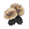 LEATHER GLOVES WITH UPCYCLED FUR GOLF  2124 BLACK-CAMEL L