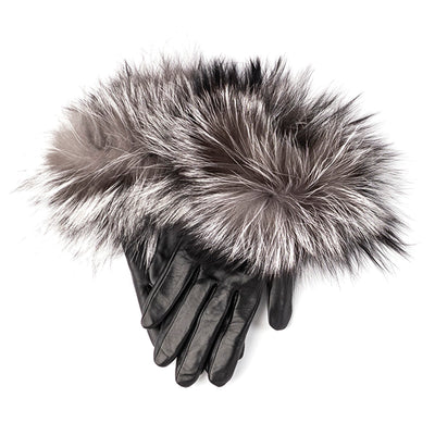 LEATHER GLOVES WITH UPCYCLED FUR GOLF  2179 BLACK-GREY L