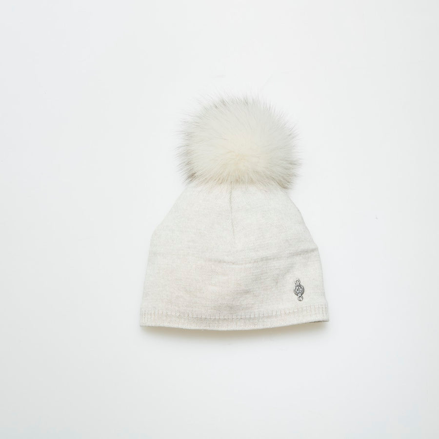 MERINO JERSEY BEANIE WITH UPCYCLED FUR POM