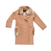 WOOL COAT WITH REUSED FUR COLLAR GOLF  2400 CAMEL L