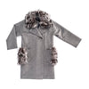 WOOL COAT WITH REUSED FUR COLLAR GOLF  7900 GREY L