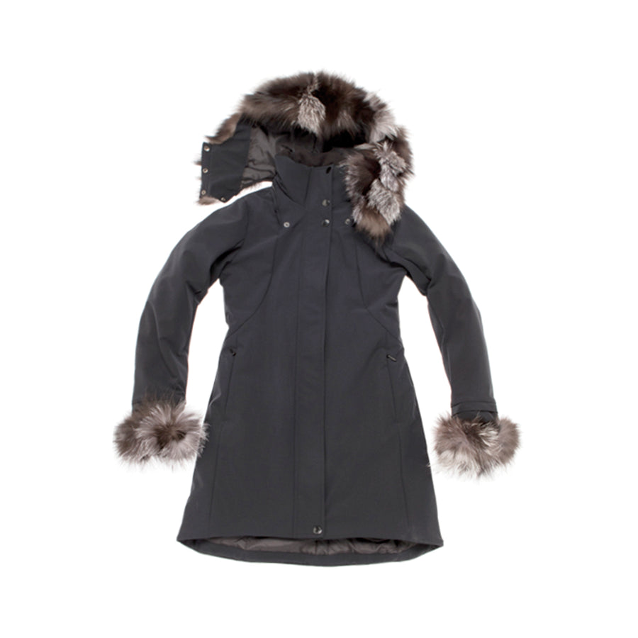COAT WITH REUSED FUR TRIM GOLF  2100 BLACK L