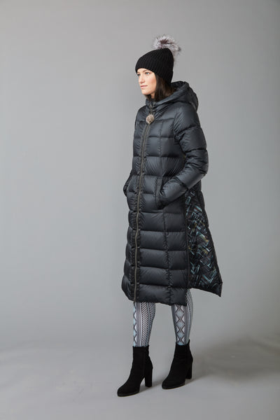 LONG A-LINE DOWN COAT WITH UPCYCLED FUR