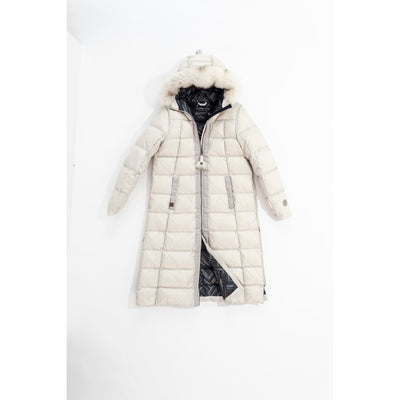 LONG A-LINE DOWN COAT WITH UPCYCLED FUR GOLF  4800 BEIGE XL
