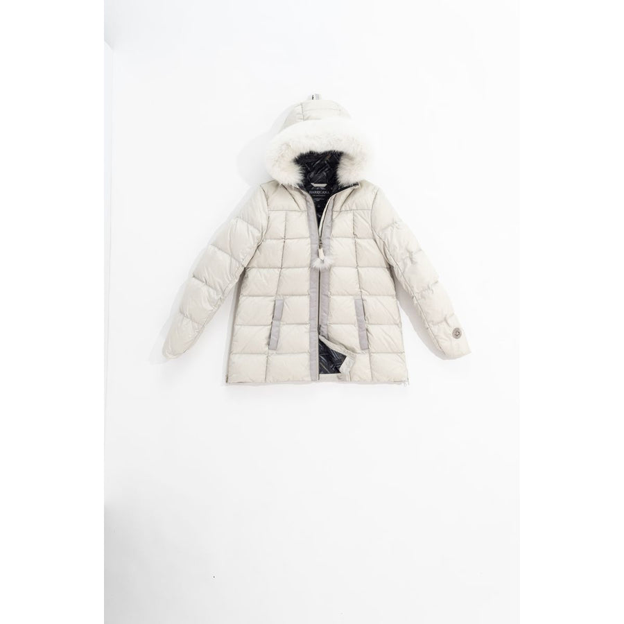 SHORT A-LINE DOWN COAT WITH UPCYCLED FUR