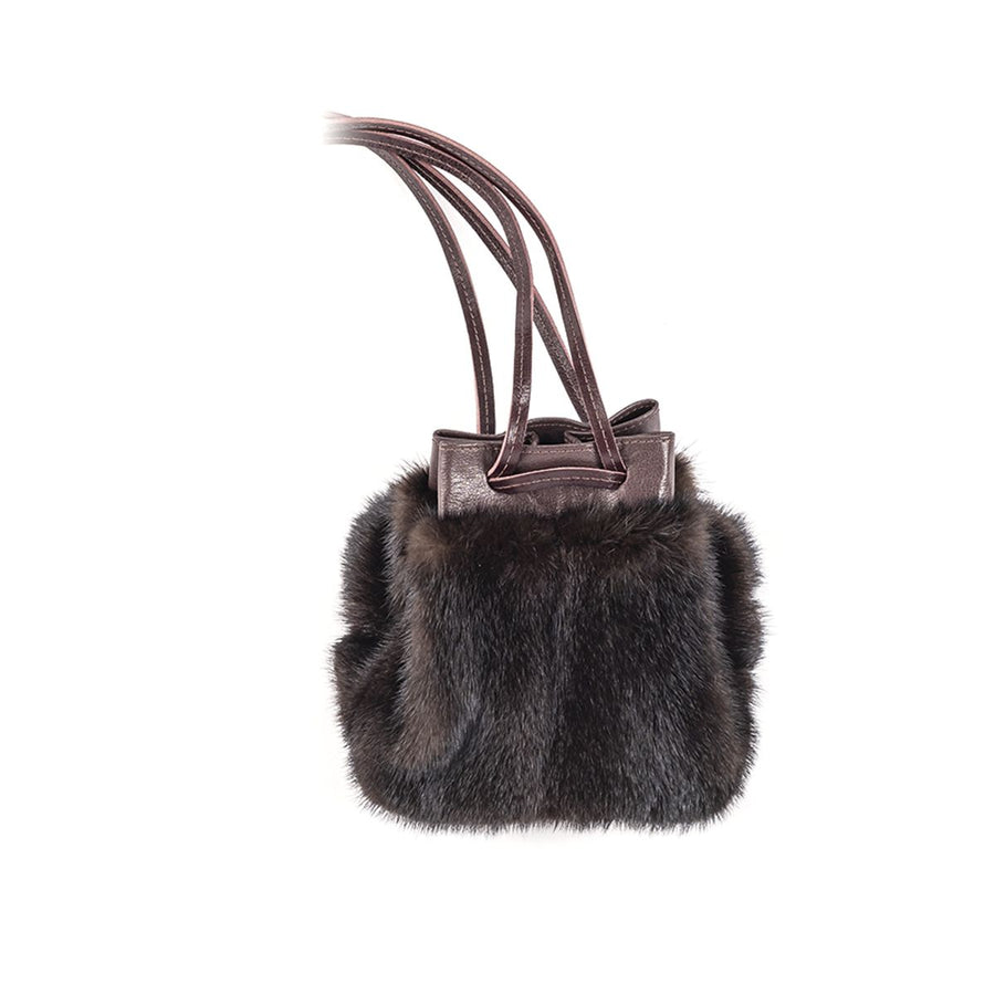 POUCH BAG WITH UPCYCLED FUR