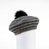 JACQUARD BERET HAT WITH UPCYCLED FUR POM GOLF  2100 BLACK MIX O/S