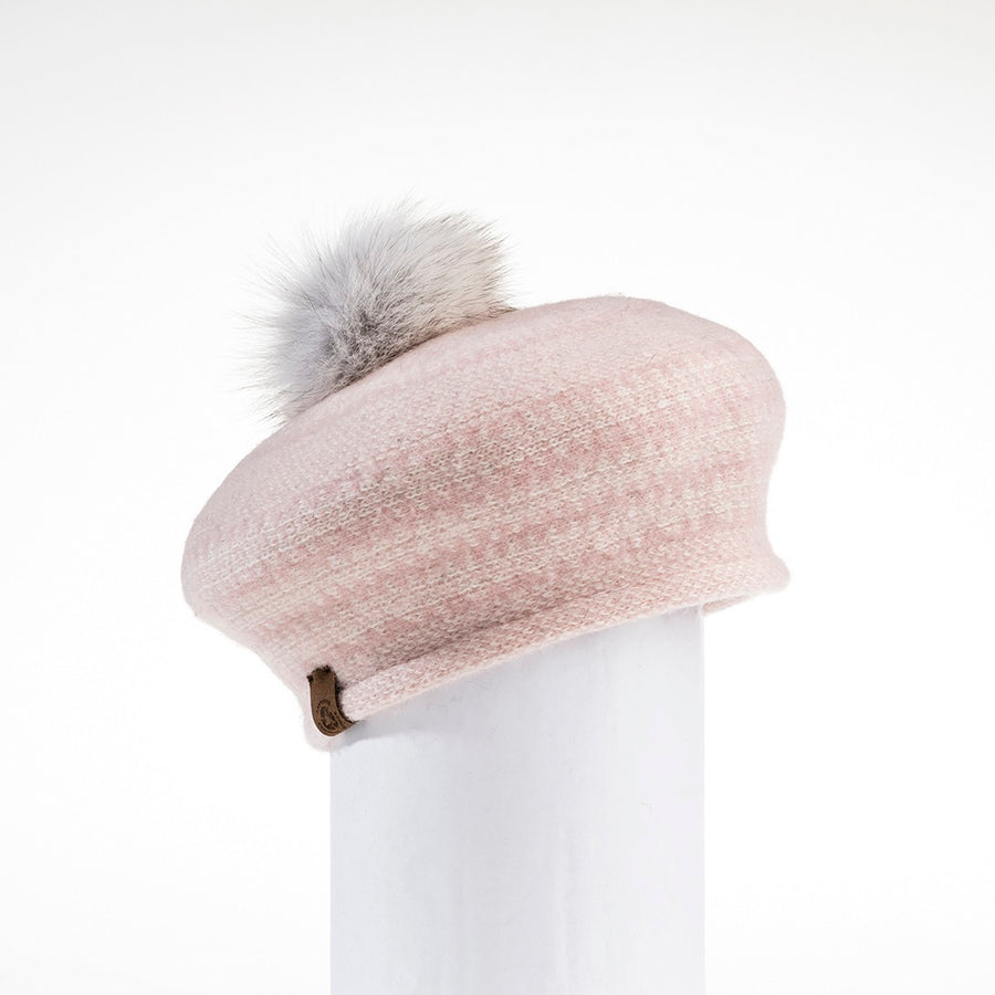 JACQUARD BERET HAT WITH UPCYCLED FUR POM