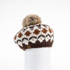 CHUNKY SKI KNIT BERET WITH REUSED FUR POM GOLF  6900 COFFEE MIX O/S
