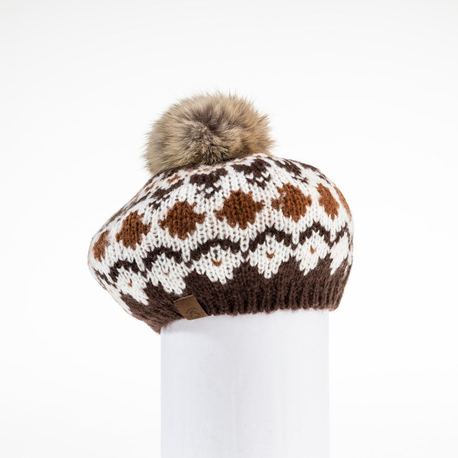 CHUNKY SKI KNIT BERET WITH REUSED FUR POM