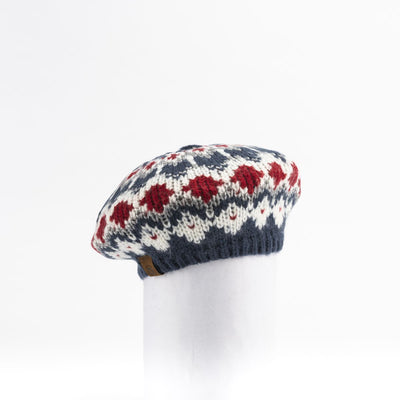 CHUNKY SKI KNIT BERET HAT GOLF  4500 NAVY-RED MIX O/S