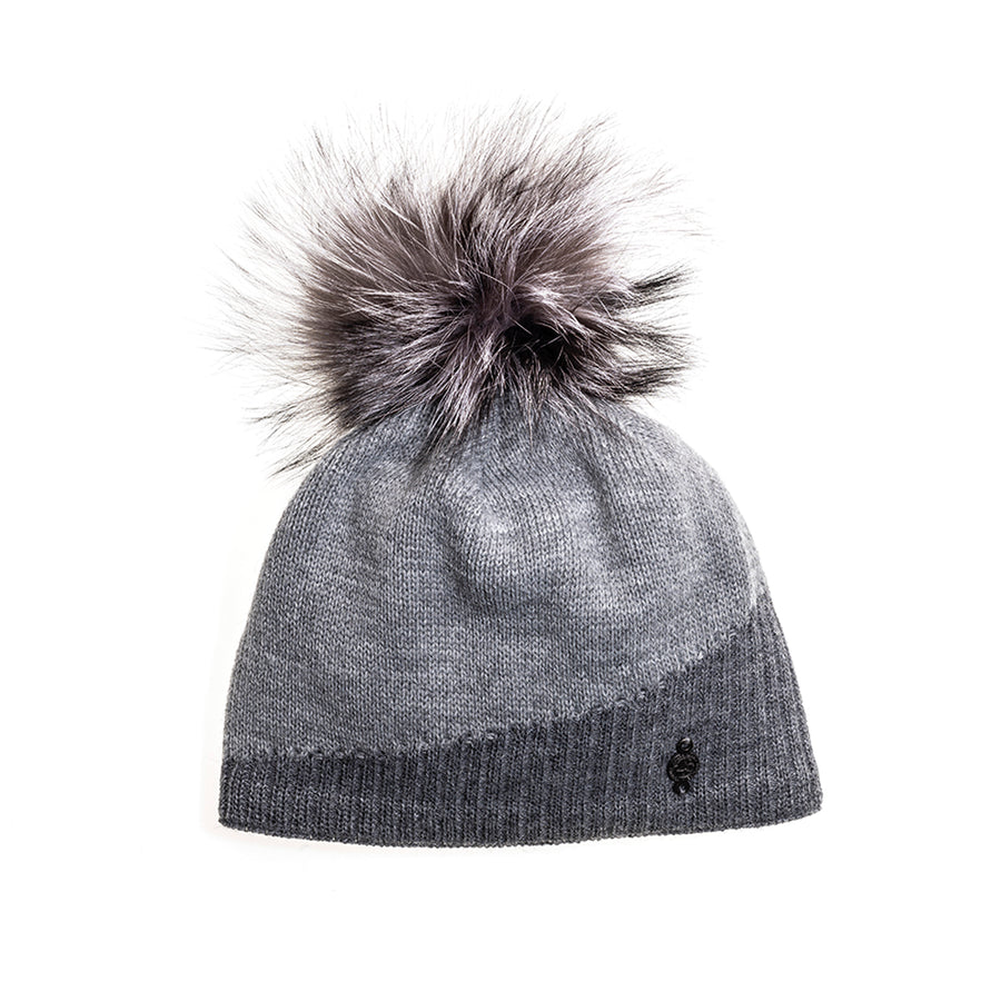 ASYMMETRIC BEANIE WITH REUSED FUR POM