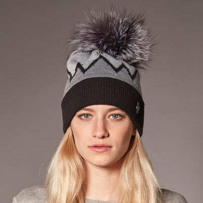 SNOW BEANIE WITH REUSED FUR POM