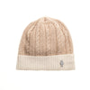 CASHMERE CABLE BEANIE GOLF  0900 BEIGE-IVORY O/S