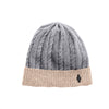 CASHMERE CABLE BEANIE GOLF  7900 GREY-BEIGE O/S