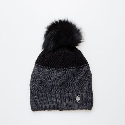 MIX KNIT BEANIE WITH UPCYCLED FUR POM GOLF  2100 BLACK MIX O/S