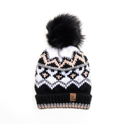 CHUNKY SKI BEANIE WITH UPCYCLED FUR POM GOLF  2100 BLACK MIX O/S