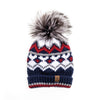 CHUNKY SKI BEANIE WITH UPCYCLED FUR POM GOLF  4500 NAVY-RED MIX O/S