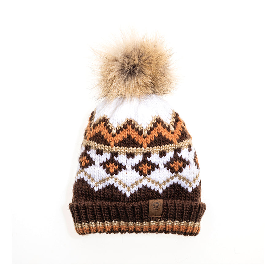 CHUNKY SKI BEANIE WITH REUSED FUR POM GOLF  6900 COFFEE MIX O/S