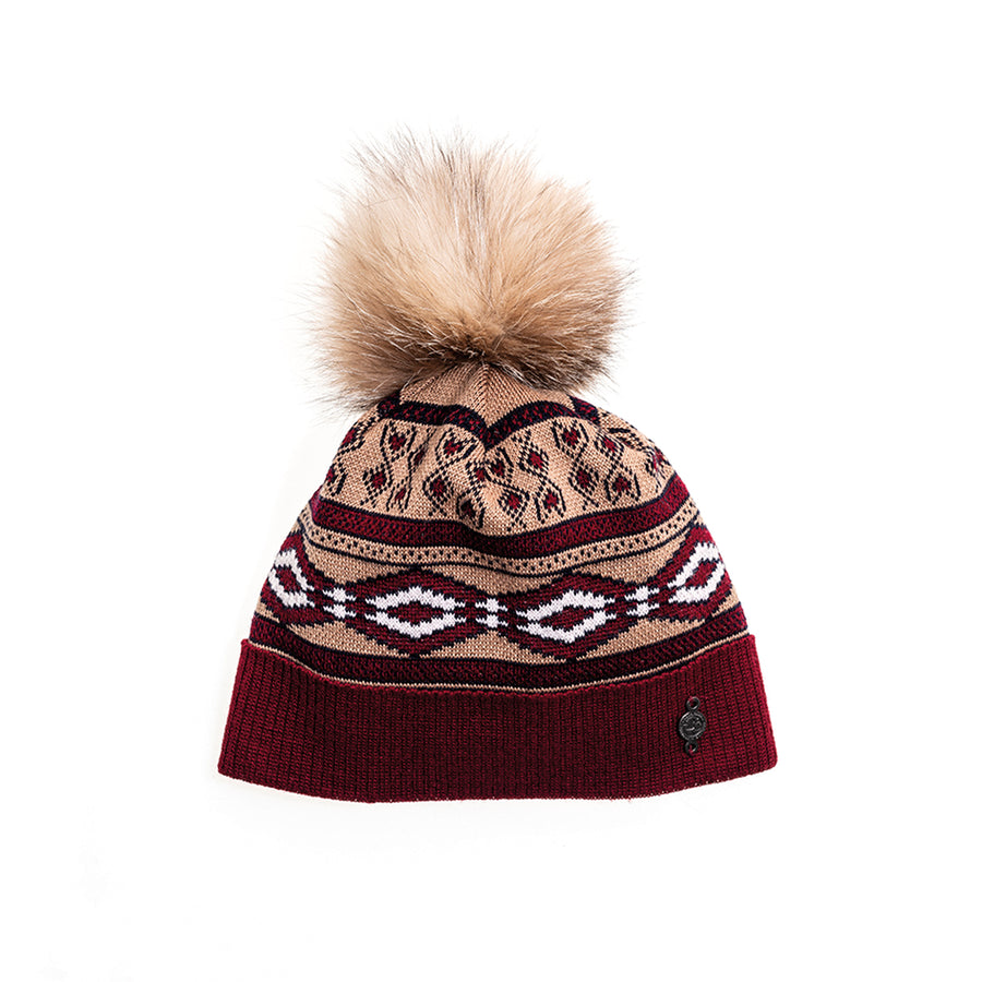 VINTAGE SKI BEANIE WITH REUSED FUR POMPOM