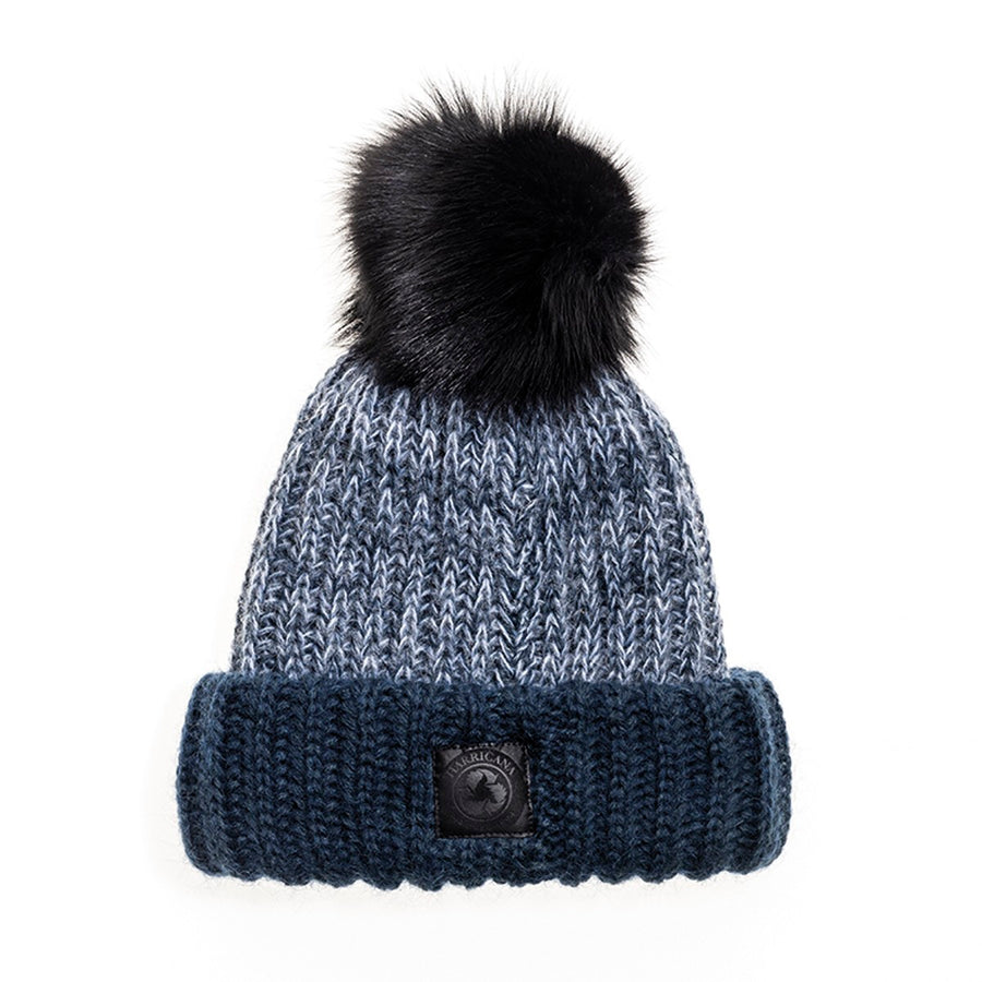 CHUNKY KNIT BEANIE WITH REUSED FUR POM GOLF  2200 BLUE MIX O/S