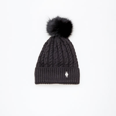 TORSADE BEANIE WITH REUSED FUR POM GOLF  2100 BLACK O/S