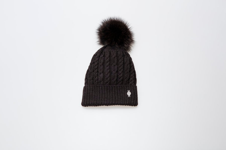 TORSADE BEANIE WITH REUSED FUR POM