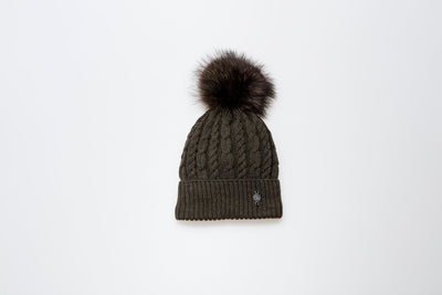 TORSADE BEANIE WITH REUSED FUR POM GOLF  9800 KHAKI O/S