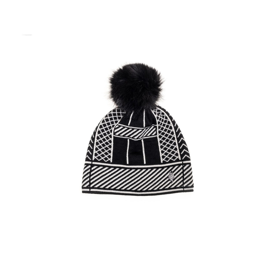 JACQUARD BEANIE WITH UPCYCLED FUR POM