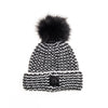 ZIGZAG BEANIE WITH REUSED FUR POM GOLF  2100 BLACK MIX O/S