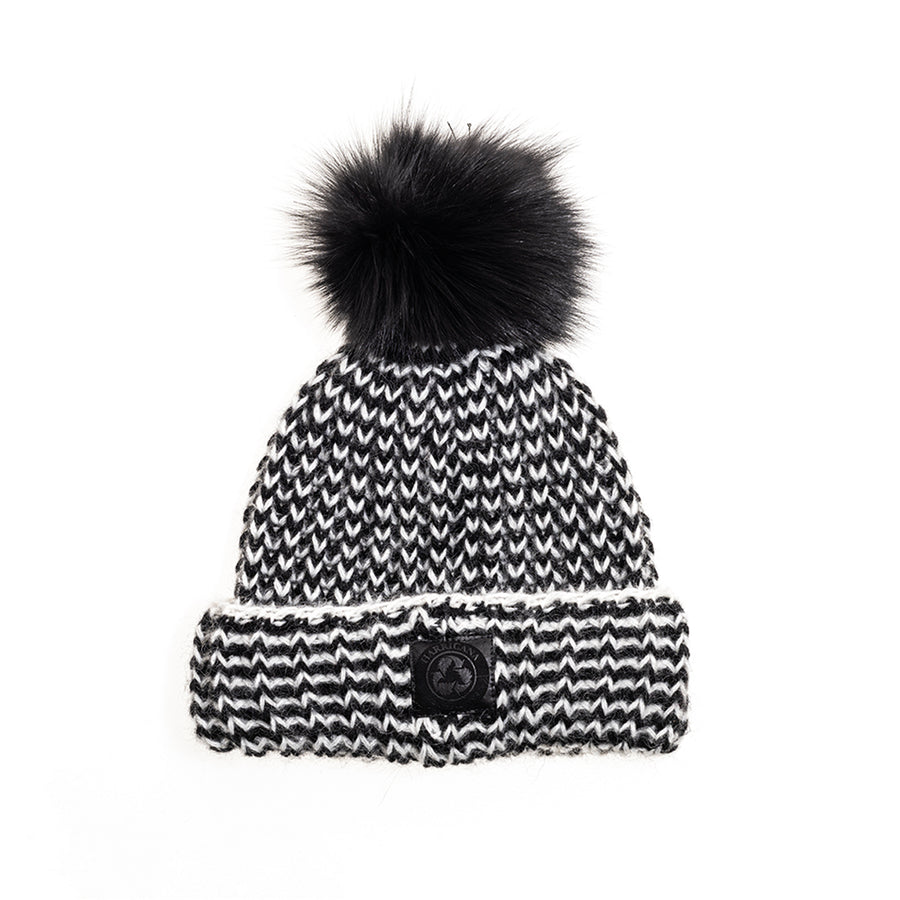 ZIGZAG BEANIE WITH REUSED FUR POM