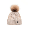 RECYCLED CASHMERE CABLE BEANIE WITH UPCYCLED FUR POM GOLF  0900 BEIGE O/S