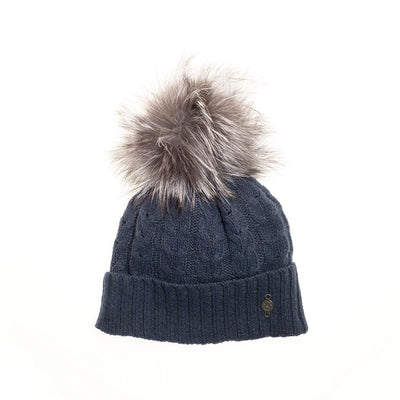 RECYCLED CASHMERE CABLE BEANIE WITH UPCYCLED FUR POM GOLF  2100 BLACK O/S