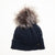 RECYCLED CASHMERE CABLE BEANIE WITH REUSED FUR POM