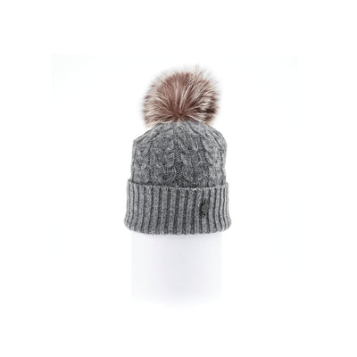 RECYCLED CASHMERE CABLE BEANIE WITH UPCYCLED FUR POM GOLF  7900 GREY O/S