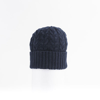 RECYCLED CASHMERE CABLE BEANIE GOLF  4500 NAVY O/S